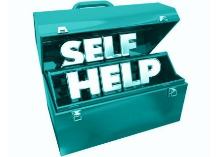 blue toolbox with self help message